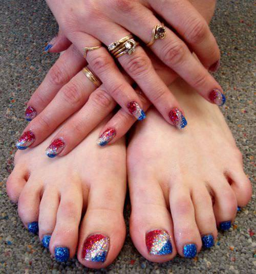 gel and glitter nail design