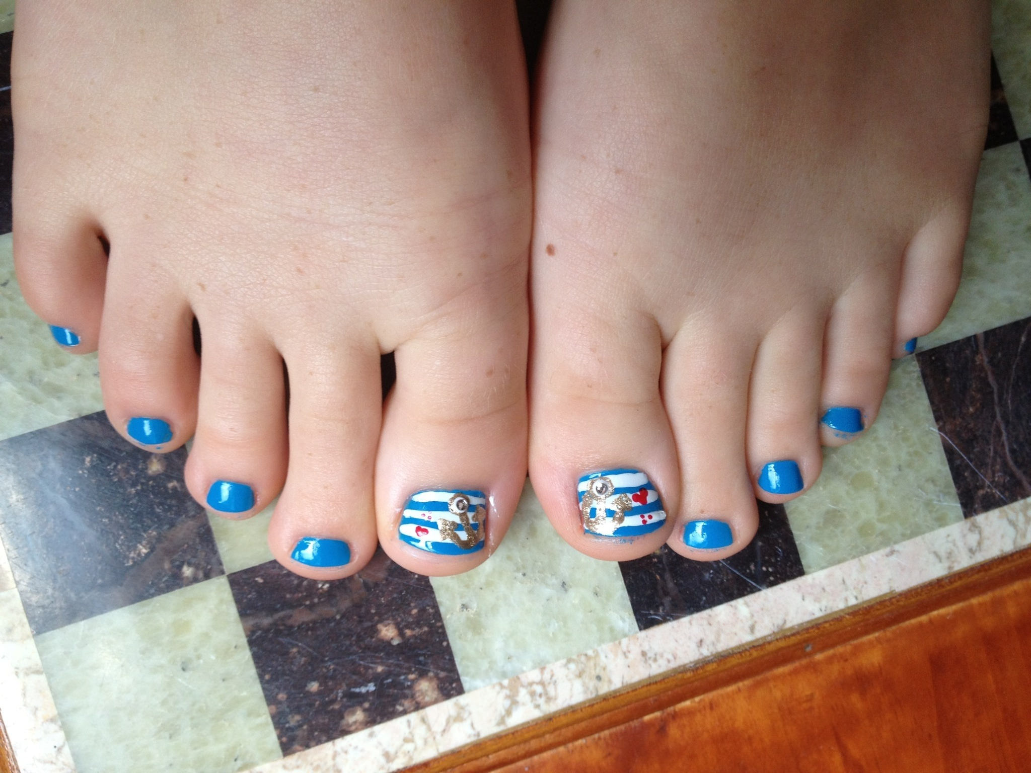 Patriotic Nail Design on Toe