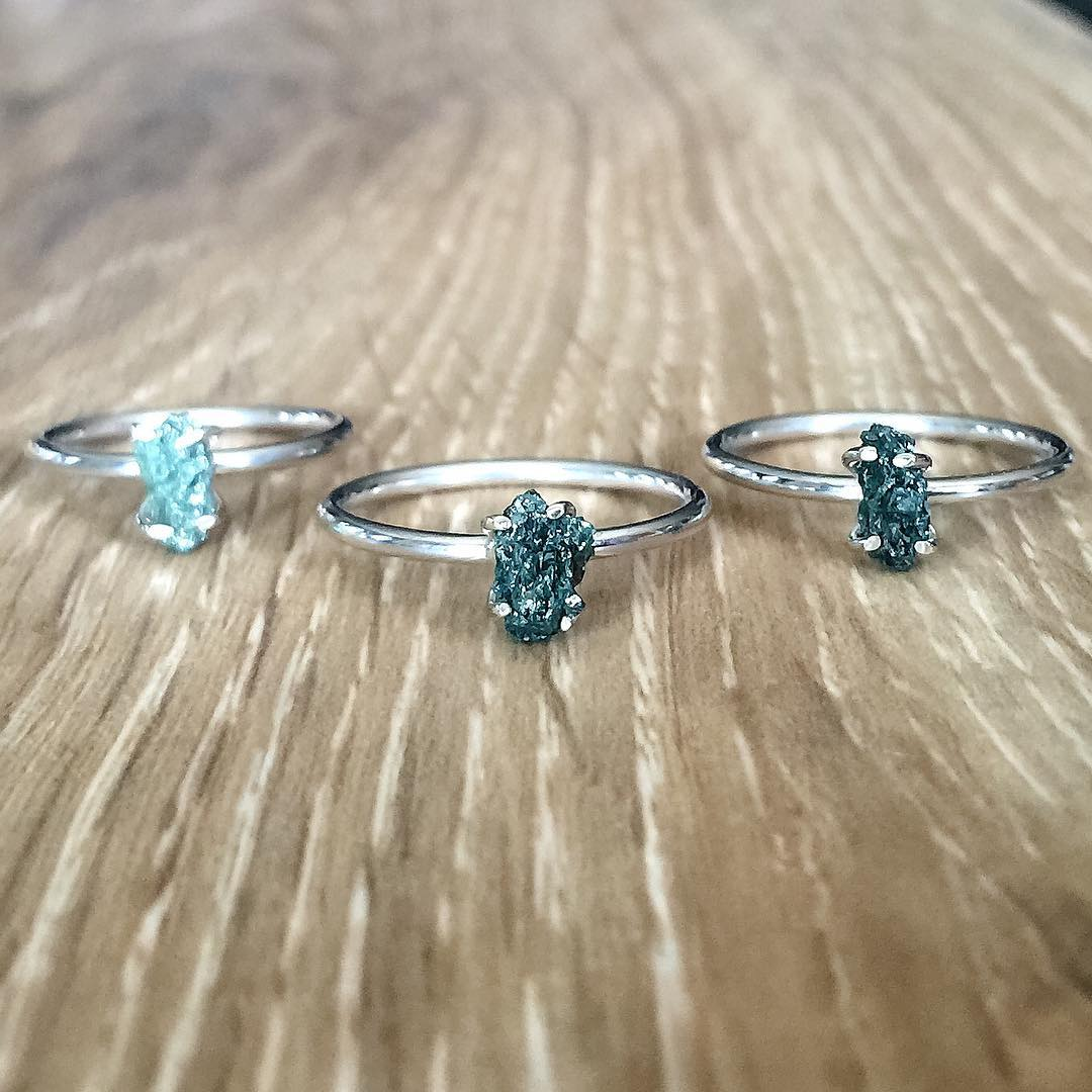 Amazing Coolection of Green Raw diamond Rings