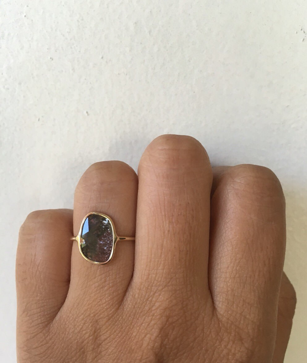 Unique Raw Diamond Slice Ring