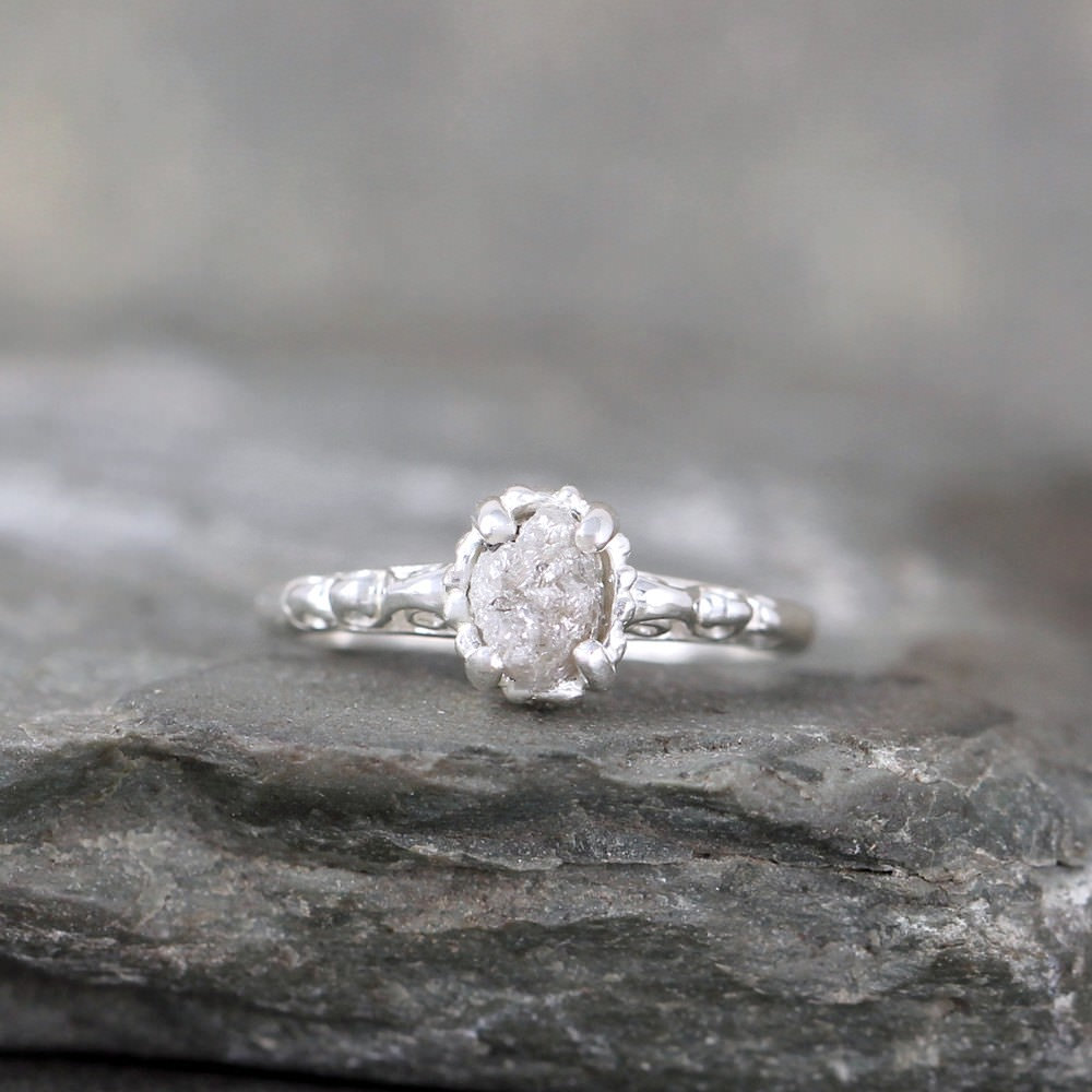 Antique Raw Uncut Rough Diamond Solitaire