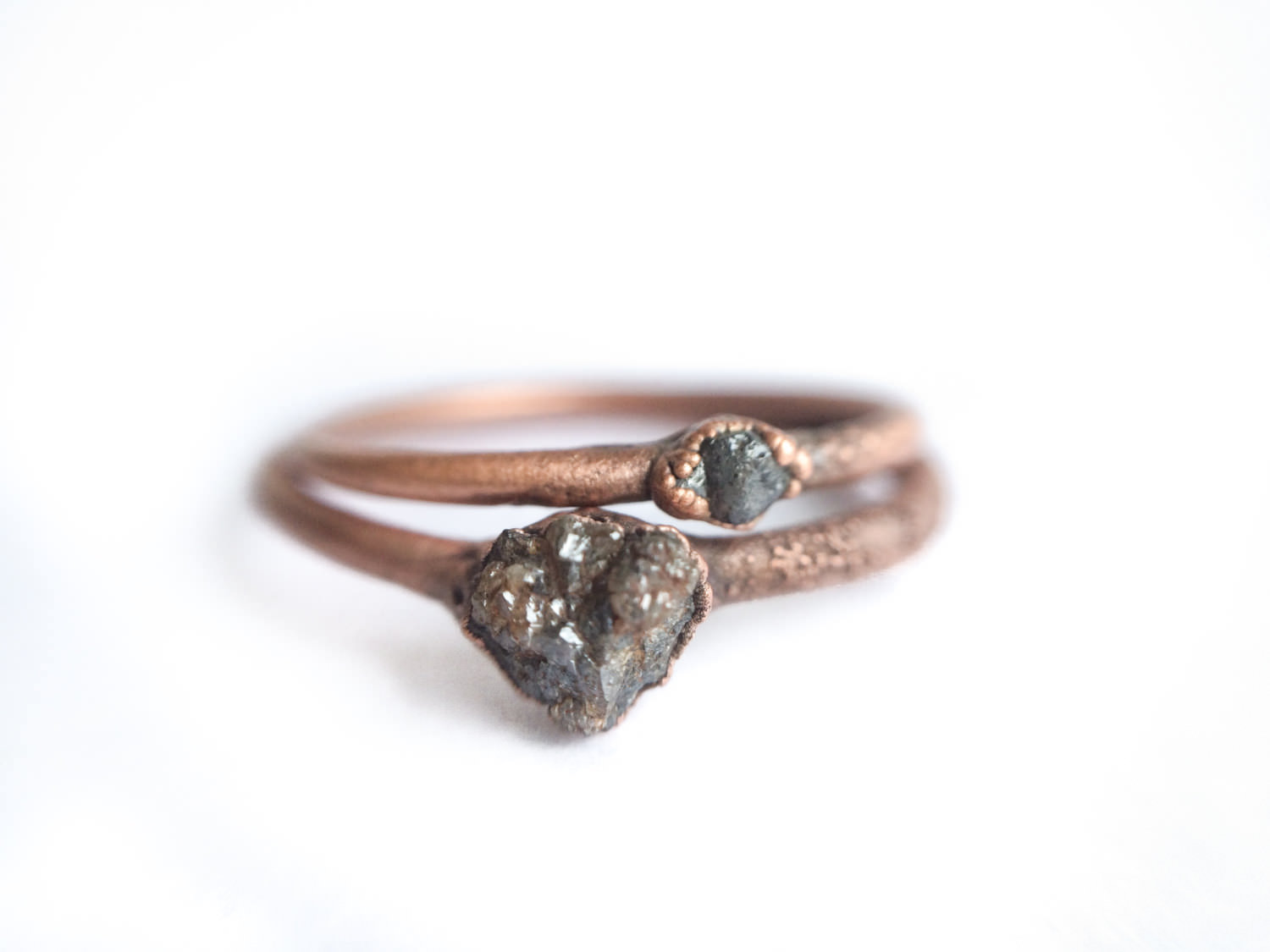 Amazing Copper Crystal Rough Raw Diamond Ring