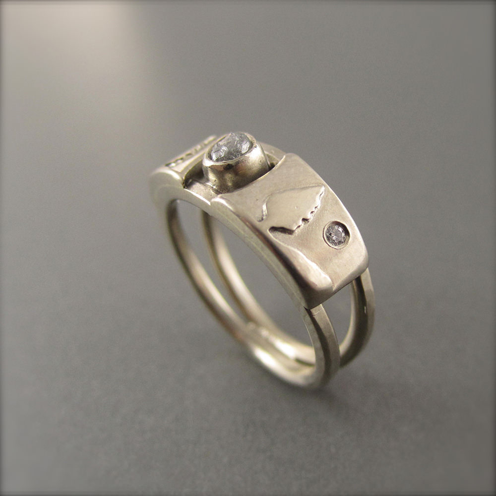 Awesome Solid Sliver Raw Diamond Ring