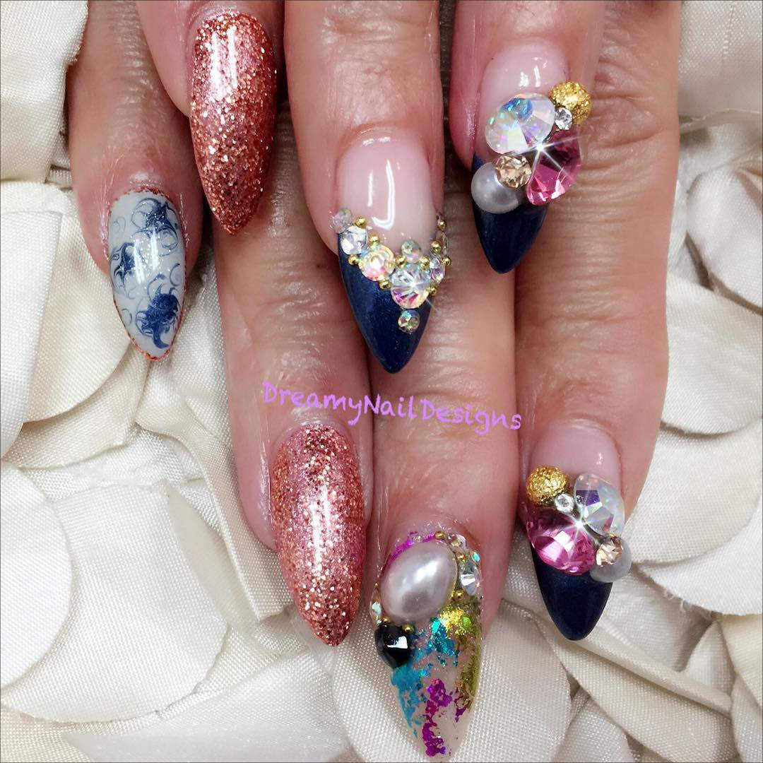 Colorful 3 D Nail Designs