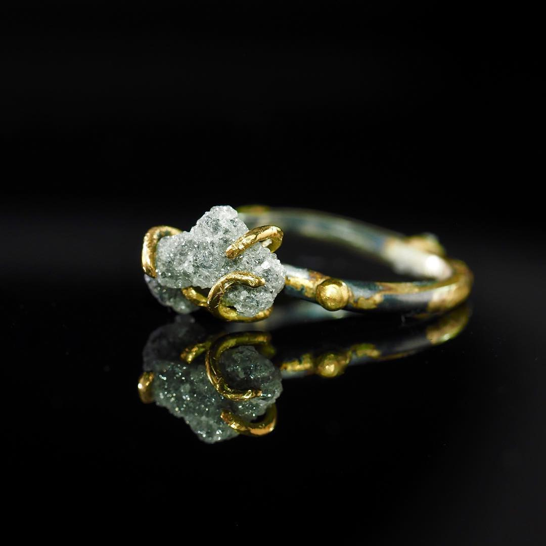 Natural Rough Raw Diamond Ring