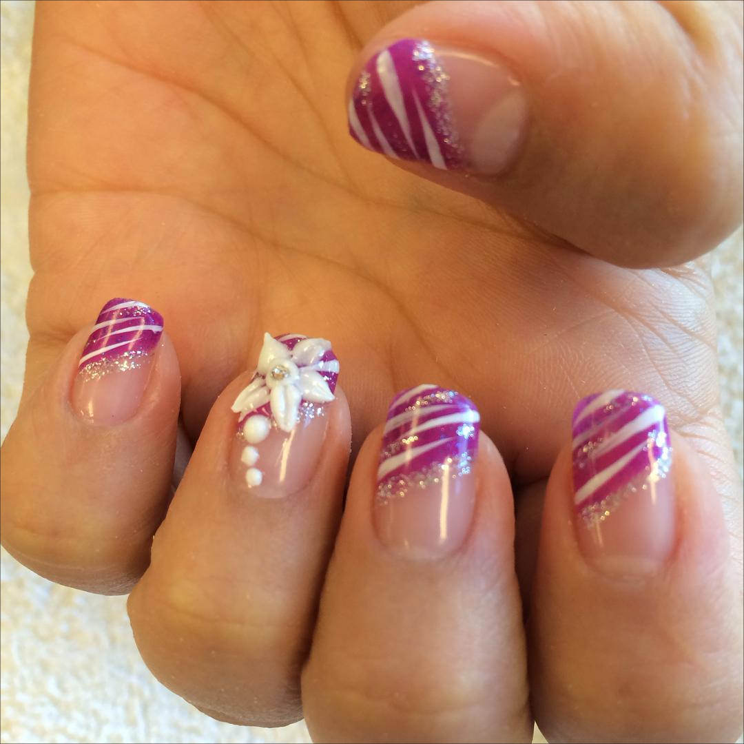 purple color 3 d nail designs