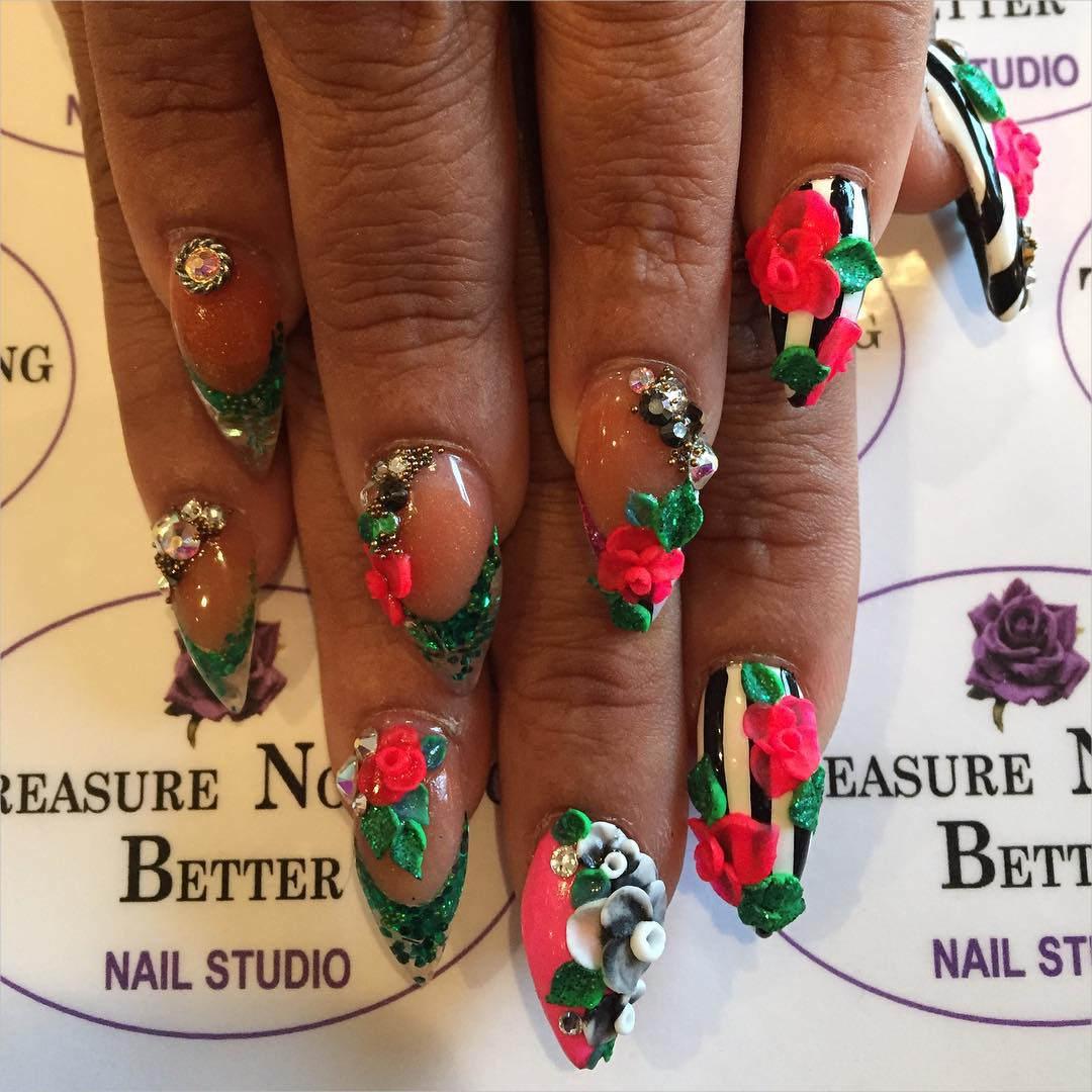Red Petals 3 D Nail Designs