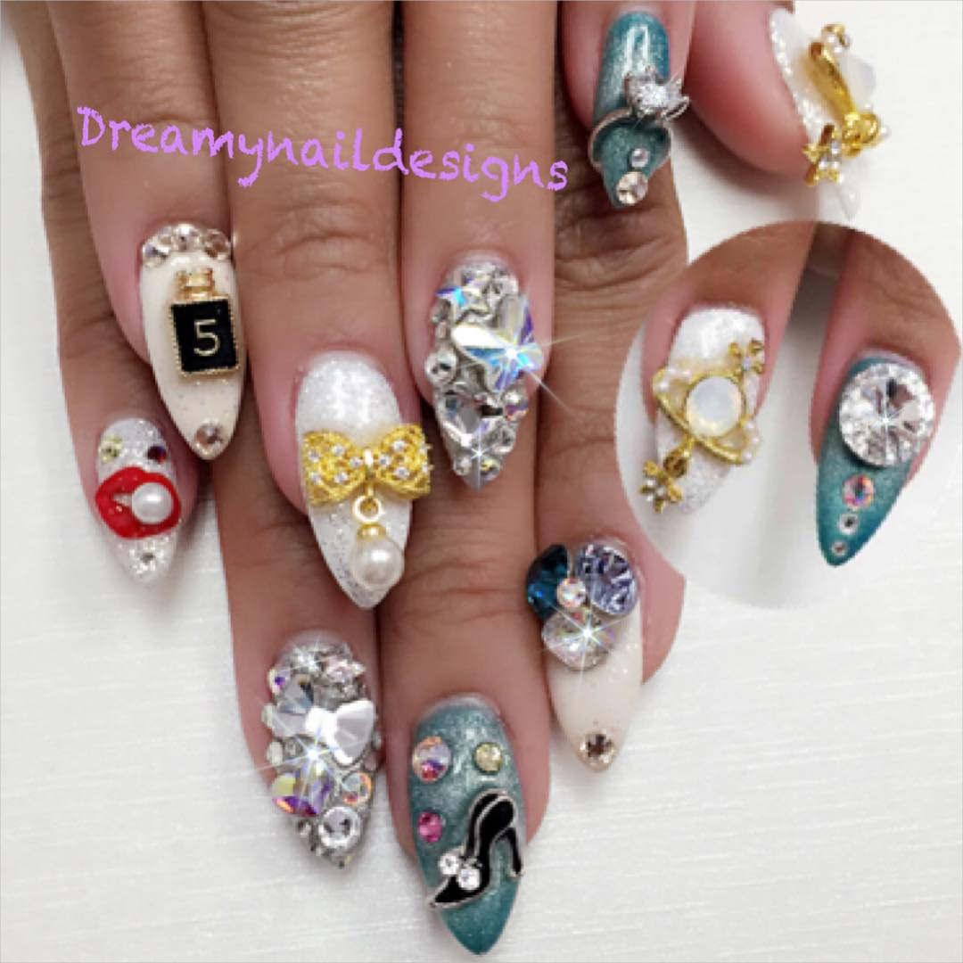 sparkle stones 3 d nail designs