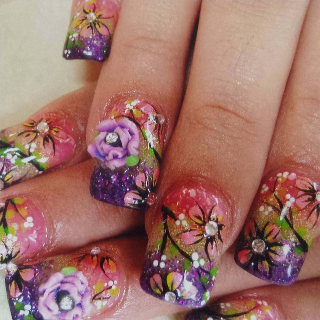 3 D Roses Nail Designs