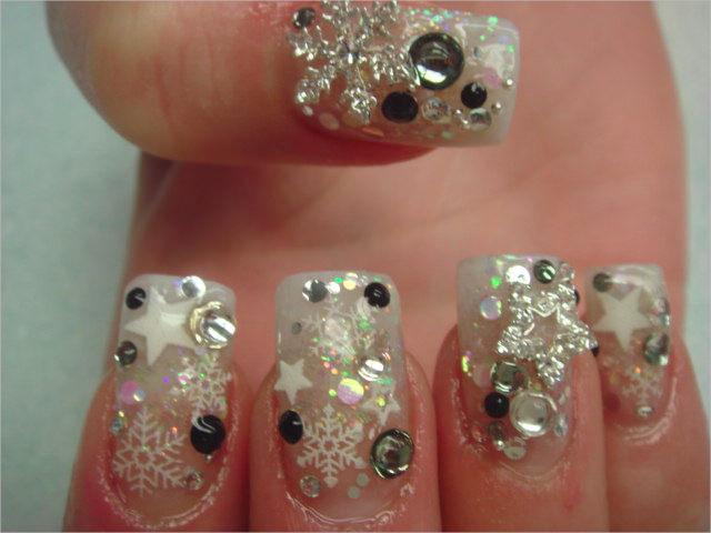 White Color 3 D Nail Designs