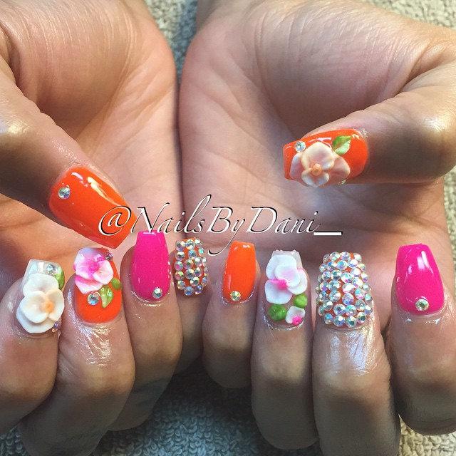 Orange & Pink 3 D Nail Designs