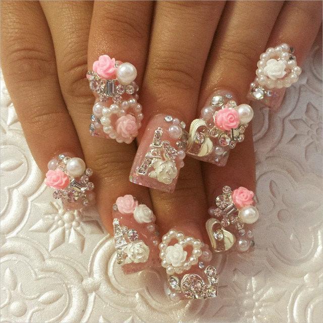 pearl hearts 3 d nail designs