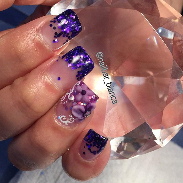 glittery 3 d nail designs
