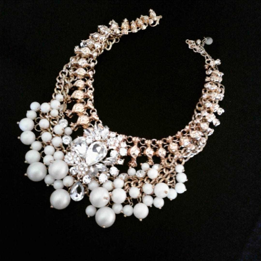 Beautiful Pearl and Crystal Prom Necklace
