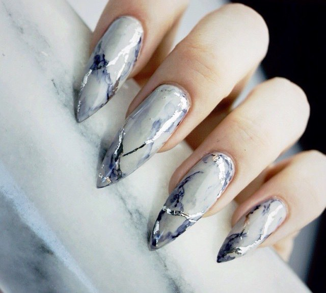 Grey Pointy Nails