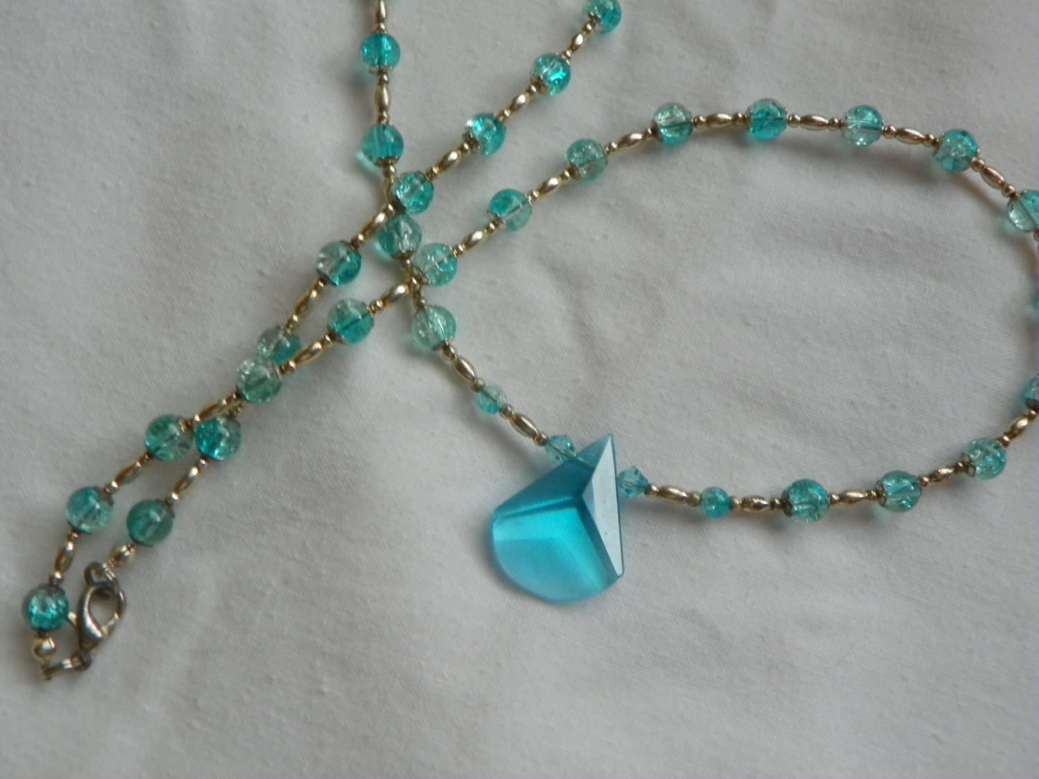 Pretty Aqua Crystal Prom Necklace