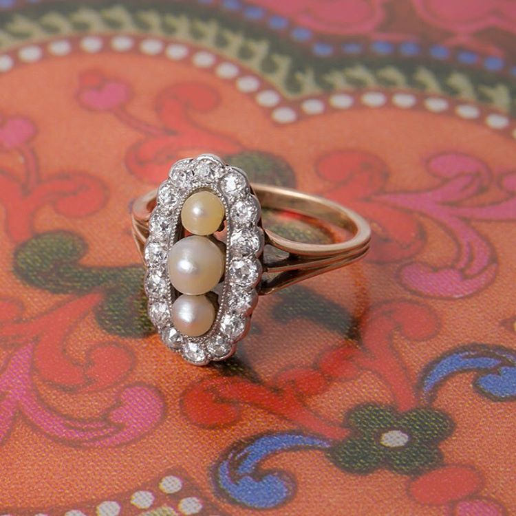diamond and pearl mix ring