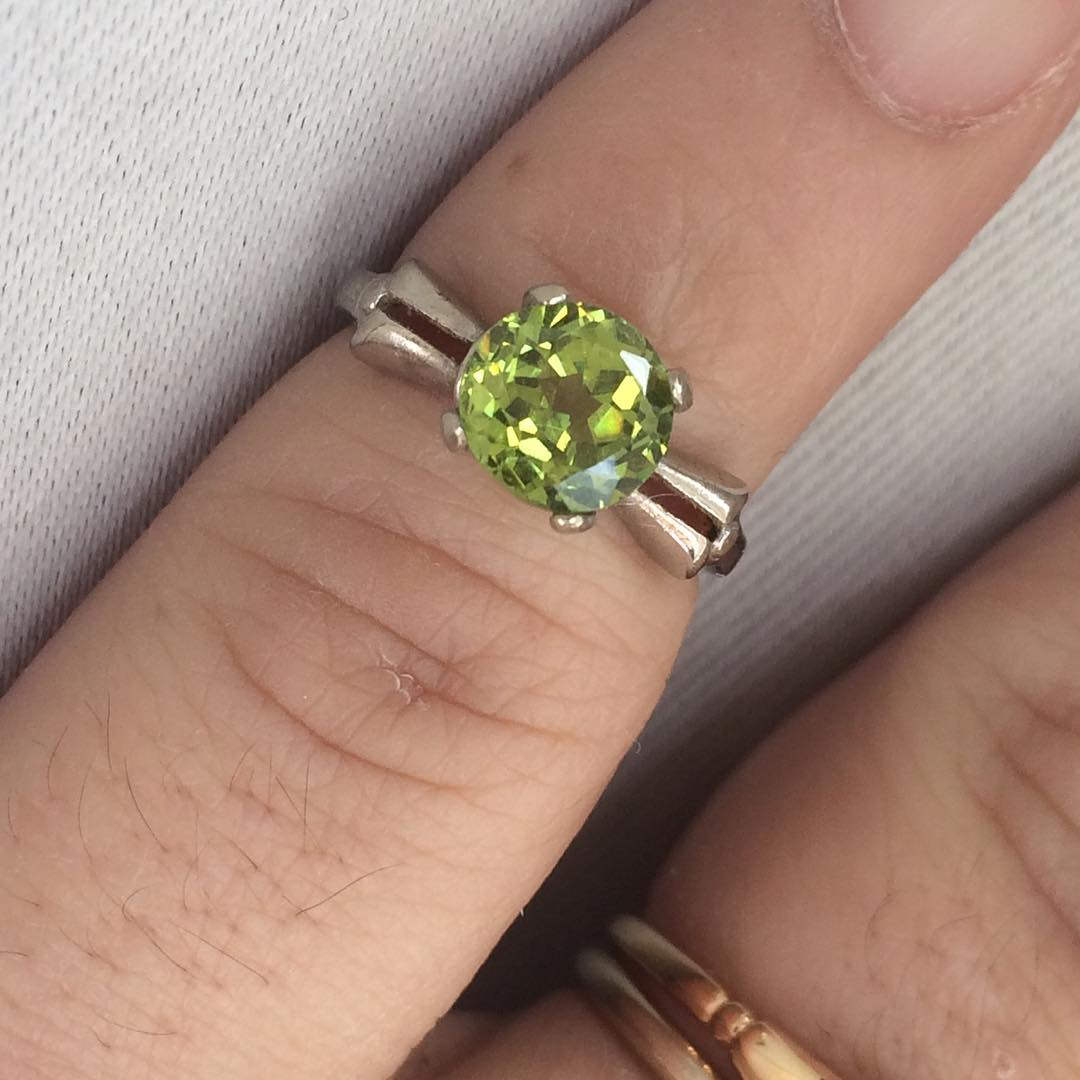 green zircon vintage ring