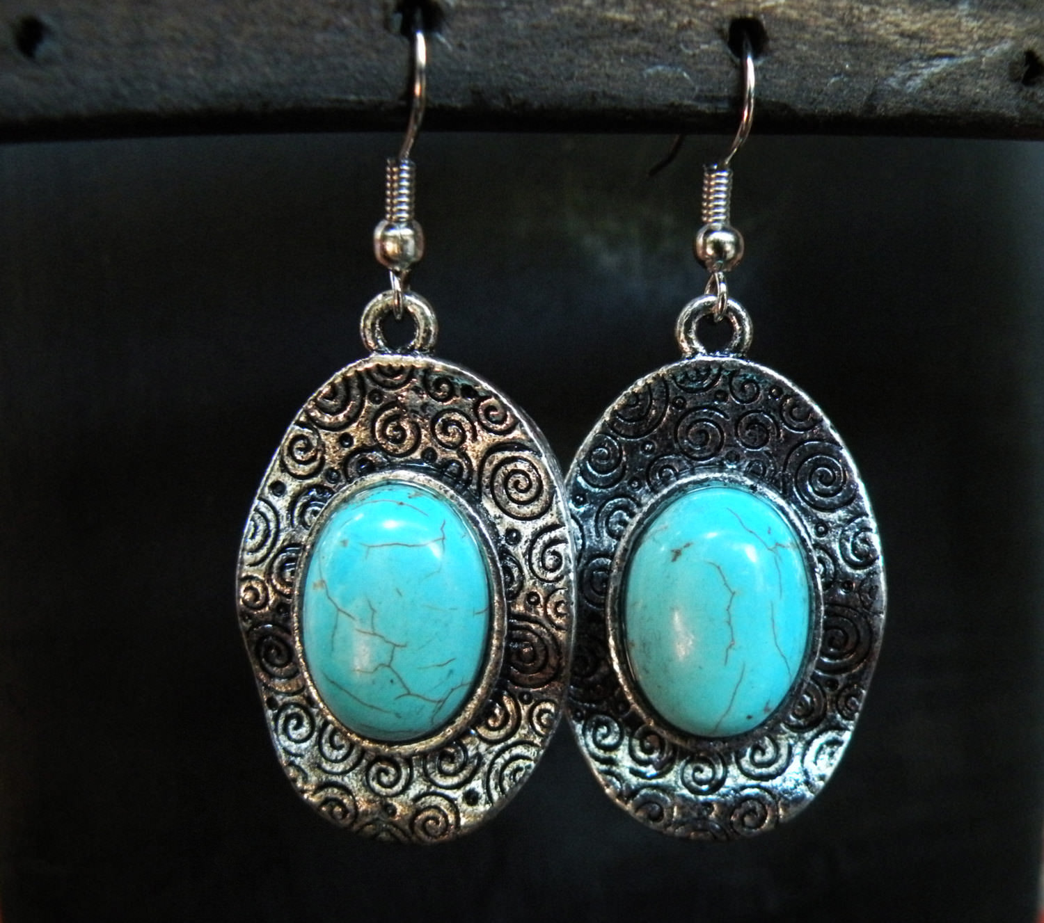 Beautiful Silver swirl earrings ethnic tribal jewelry