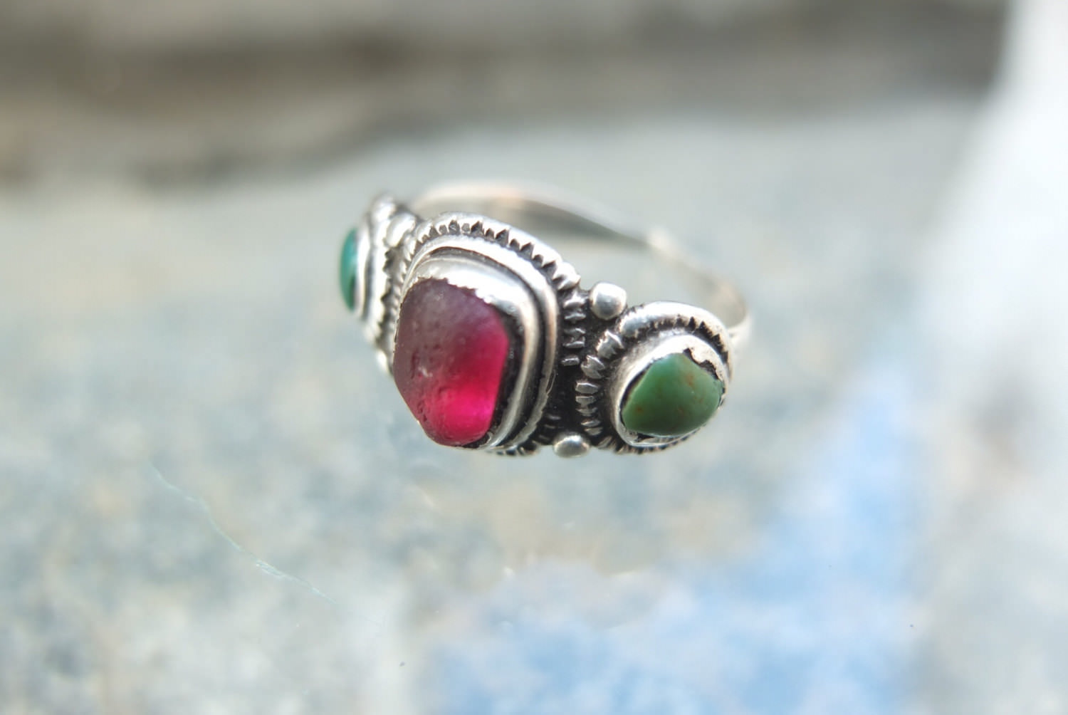 Antique Glass Bead Tribal Ring