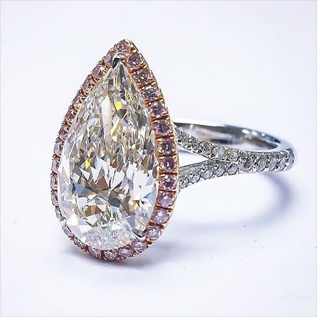 pear shaped pink diamond engagement ring