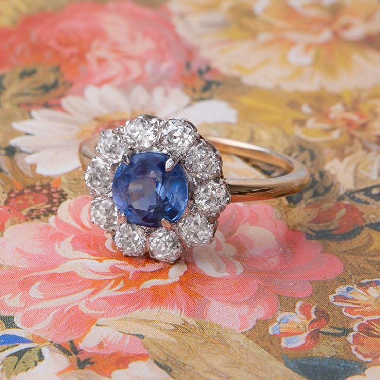 blue diamond vintage ring