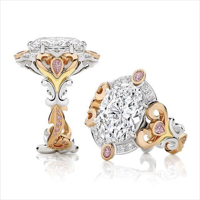 Gold Pink Diamond Engagement ring
