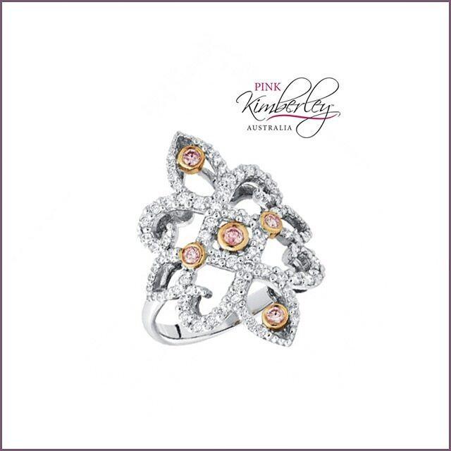 White & Pink Diamond Engagement Ring