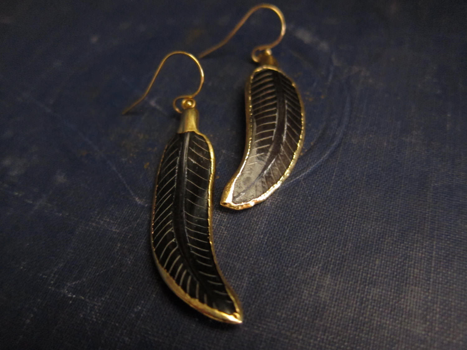 Creative Gold Feather Earrings Tribal Jewelry