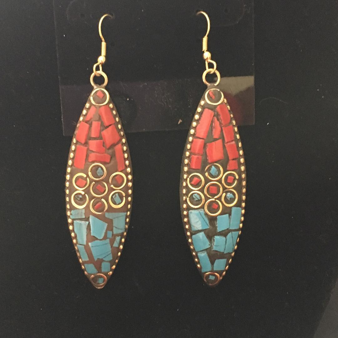 Cool Golden Plated Tribal Earrings