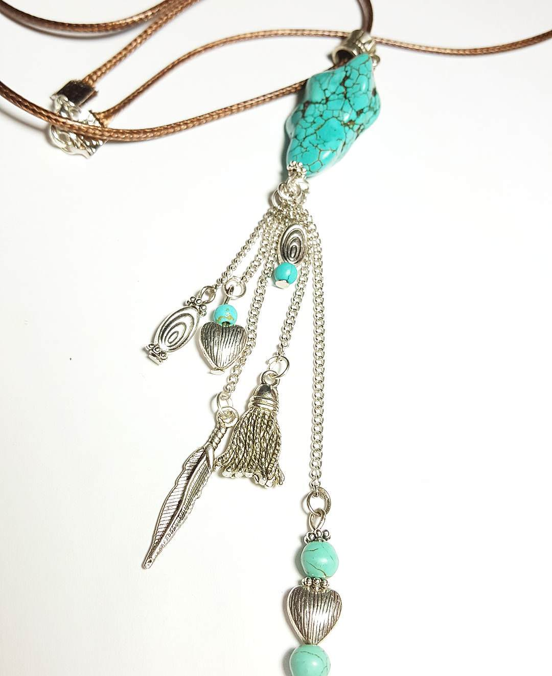 Pretty Aqua Color Necklace Tribal Jewelry