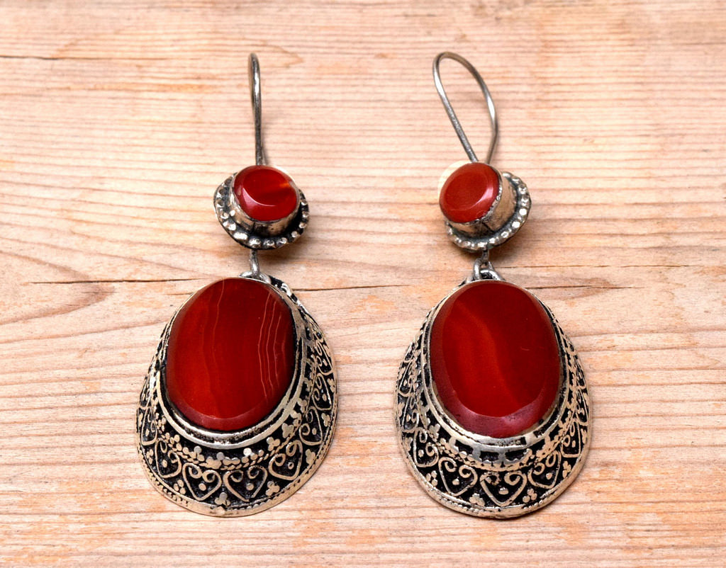 Ethnic Carved Afghan Earring Carnelian Stone Tribal Jewelry