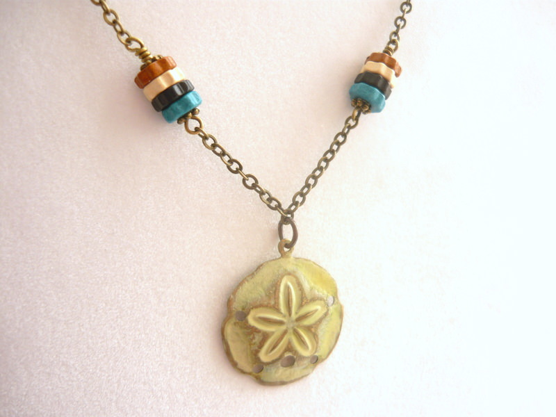 Beautiful brass and Greek Tropical Necklace