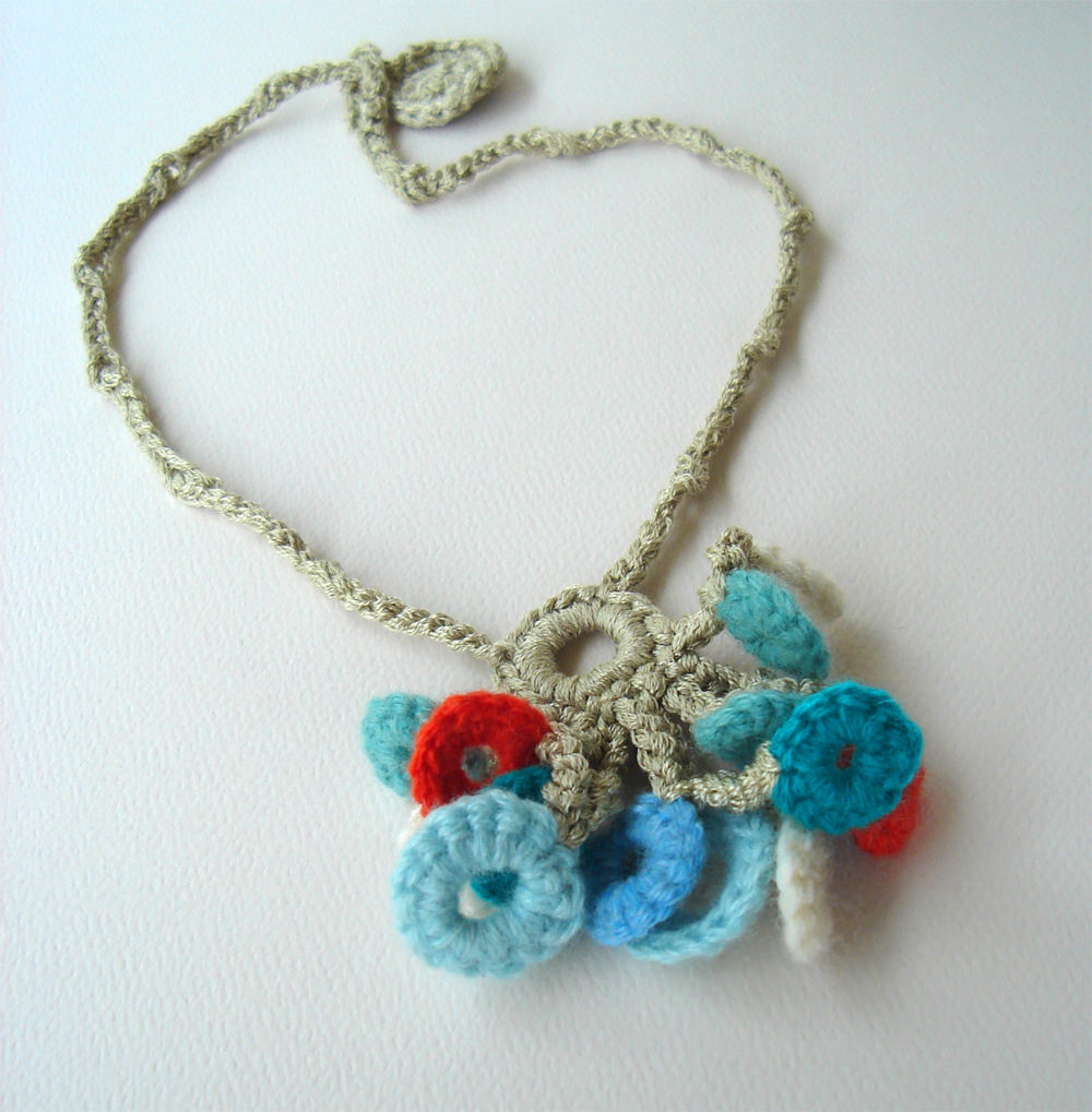 Cool Crochet Tropical Turquoise and Orange Circles Necklace