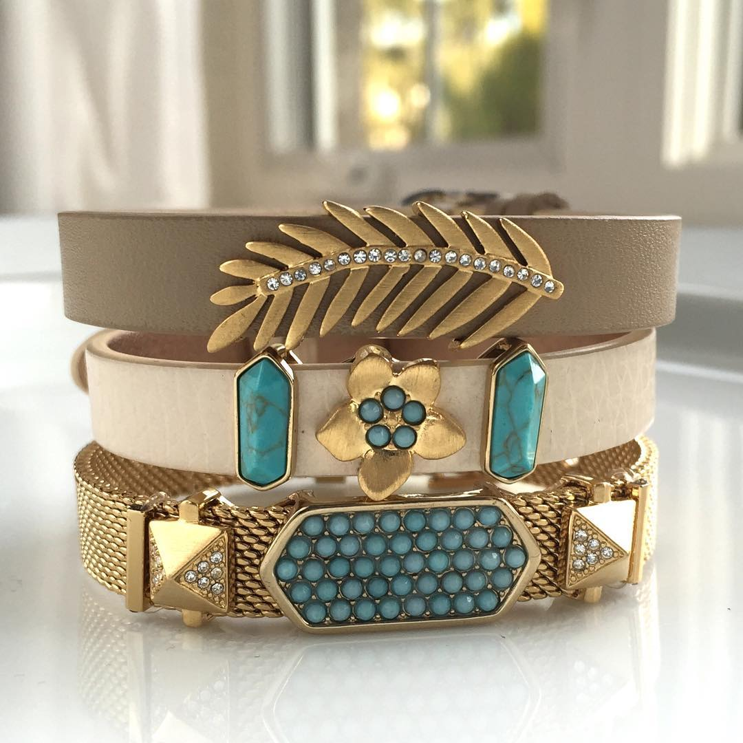 Flat Brushed gold and turquoise combinations Tropical Bangles