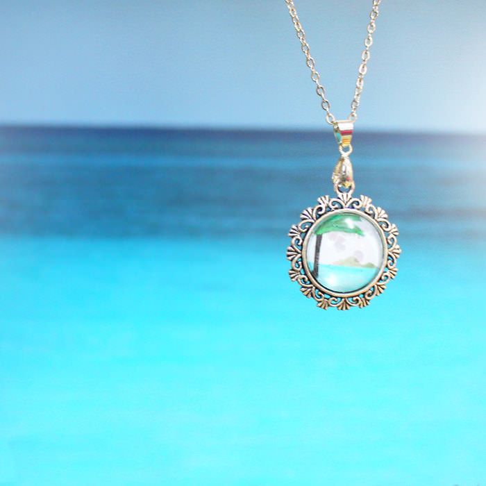 Unique Pendant Silver Plated Tropical Necklace