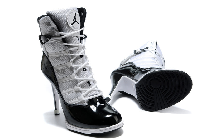 Black White Jordan High Heels