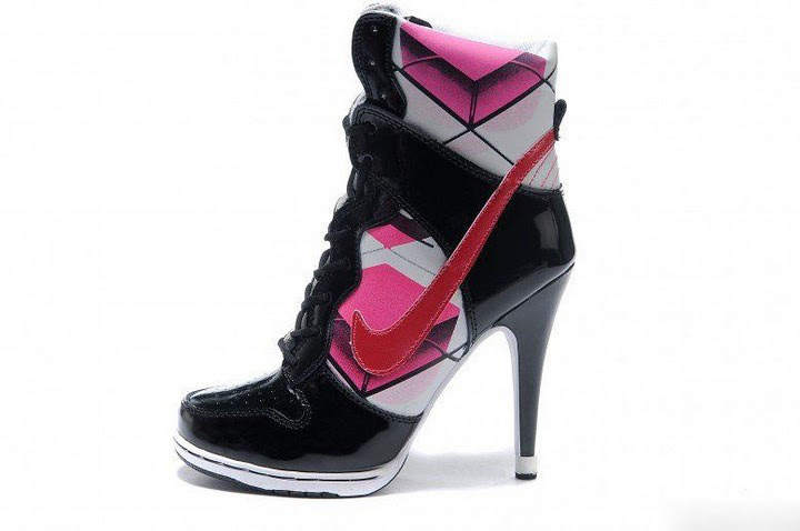 Pink White Black High Heels.
