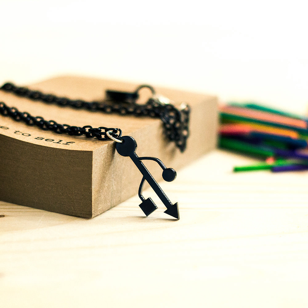 Simple Black USB Sign Necklace