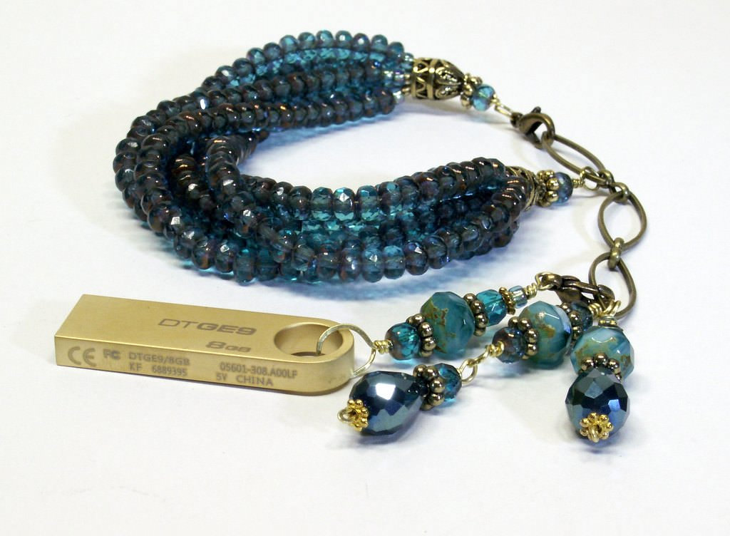 flat Blue Multi Strand Beaded USB Bracelet.