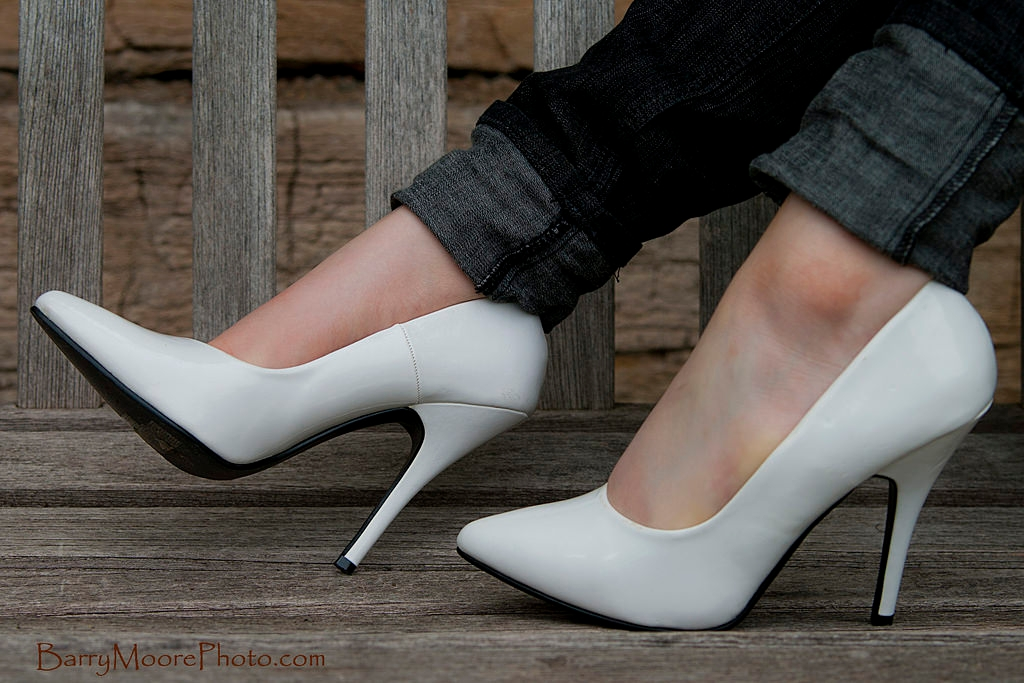 white classy high heel shoes