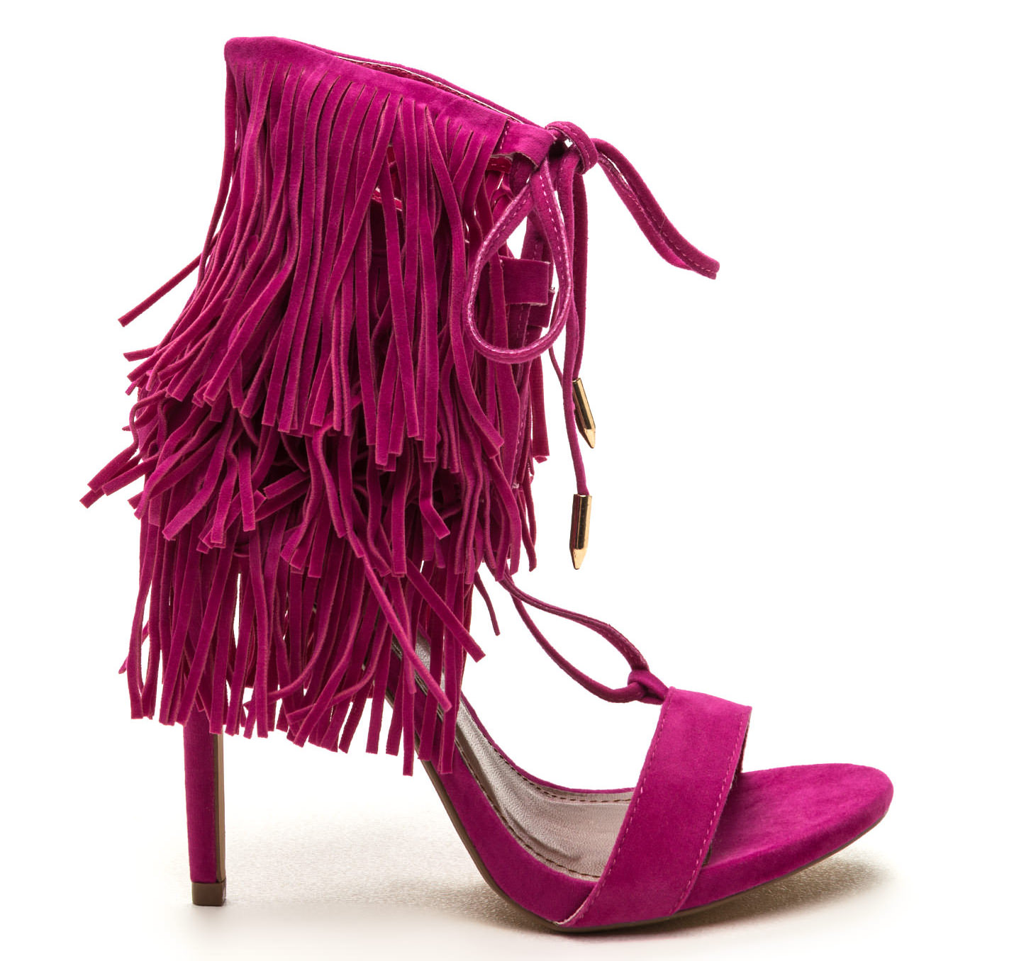 watch faux suede fringe heels