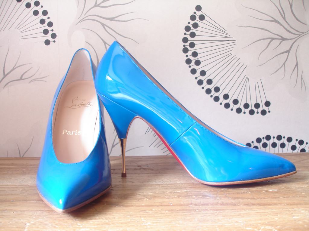 classy blue high heel shoes