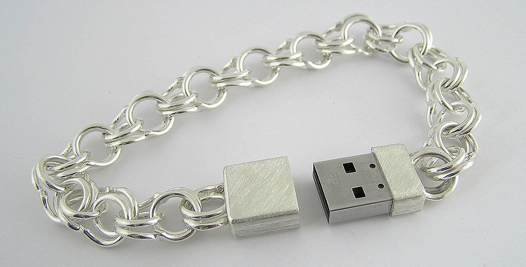 Glowing Silver USB Bracelet