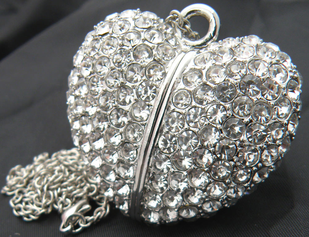 silver heart stones usb necklace
