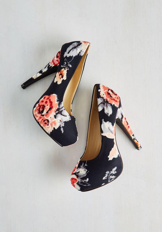 Floral Print High Heels