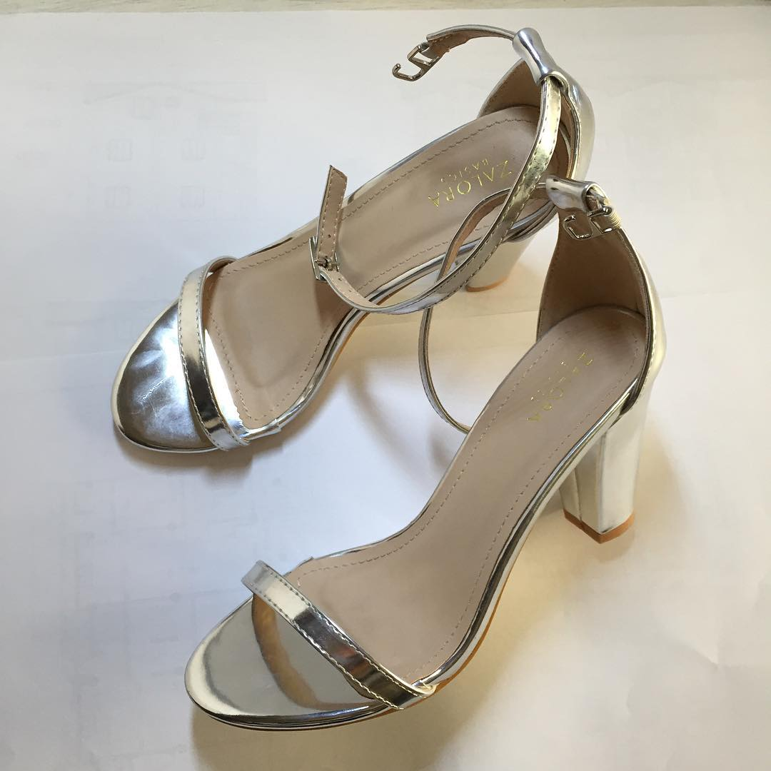 Simple Leather Silver High Heels