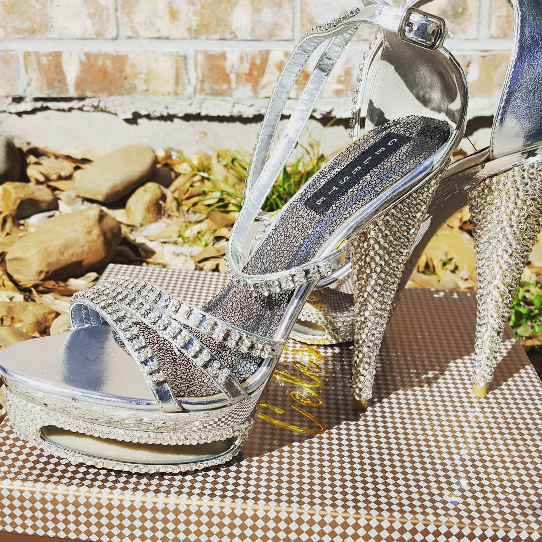 Finely Detailed Designer Silver High Heels