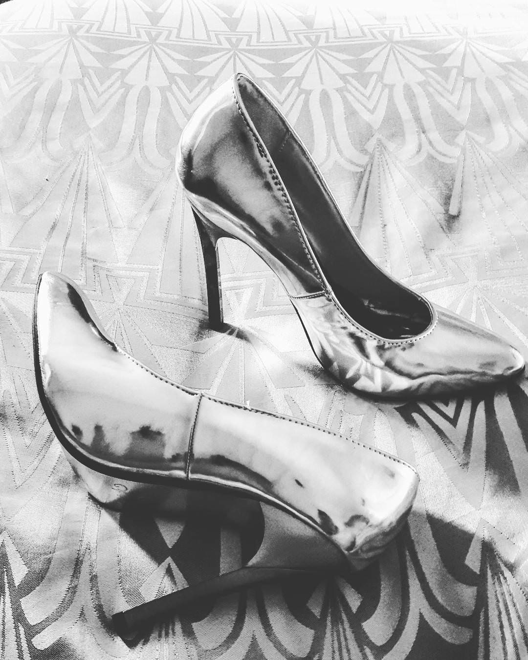 Glamourous Silver Leather High Heels