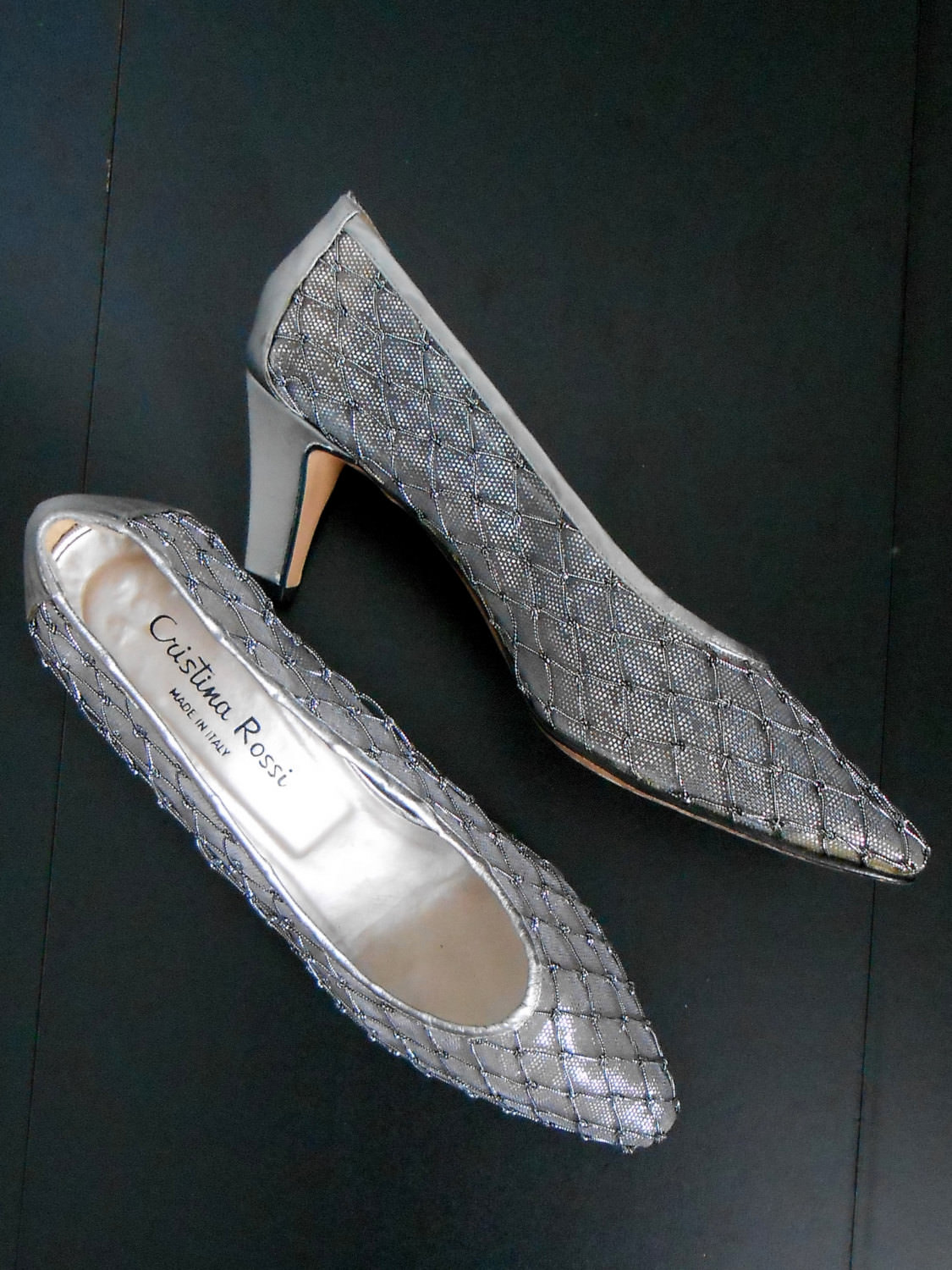Brillant Pair Of Silver High Heels